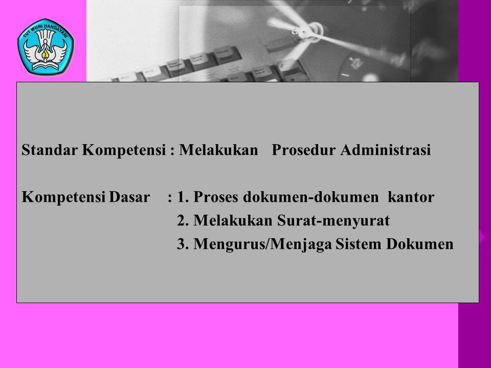 Standar Kompetensi : Melakukan Prosedur Administrasi