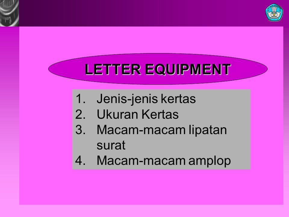 LETTER EQUIPMENT 1. Jenis-jenis kertas 2. Ukuran Kertas