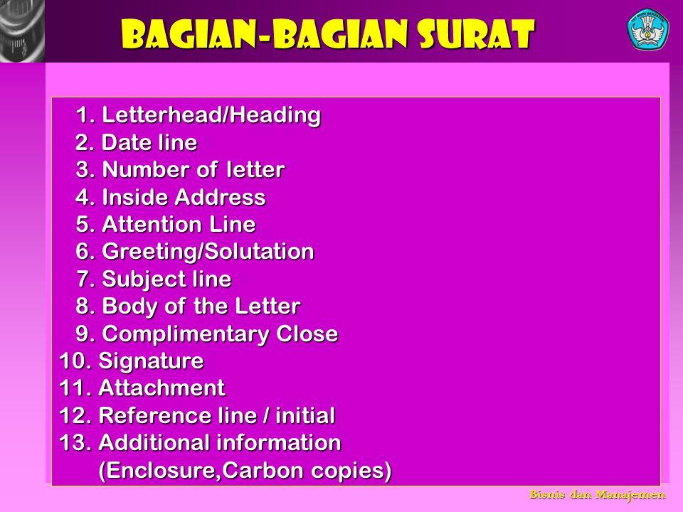 BAGIAN-BAGIAN SURAT 1. Letterhead/Heading 3. Number of letter