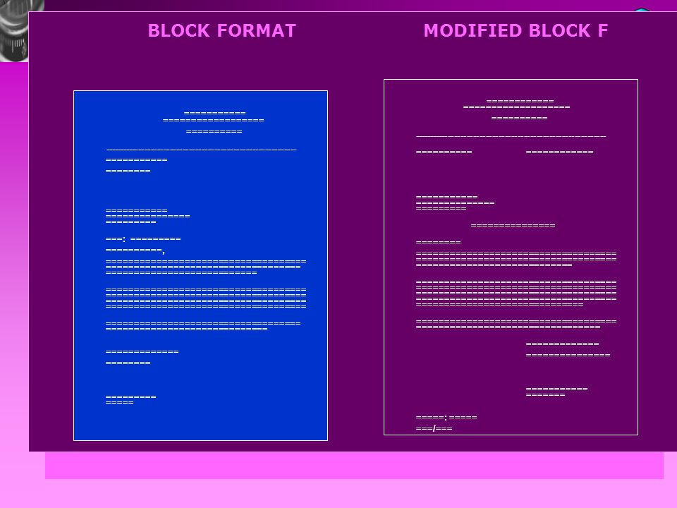 BLOCK FORMAT MODIFIED BLOCK F