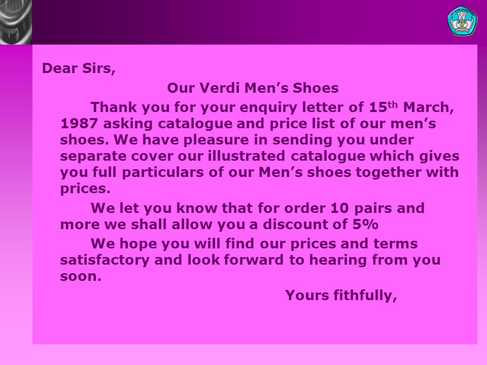 Dear Sirs, Our Verdi Men's Shoes.