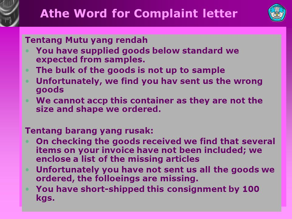 Athe Word for Complaint letter
