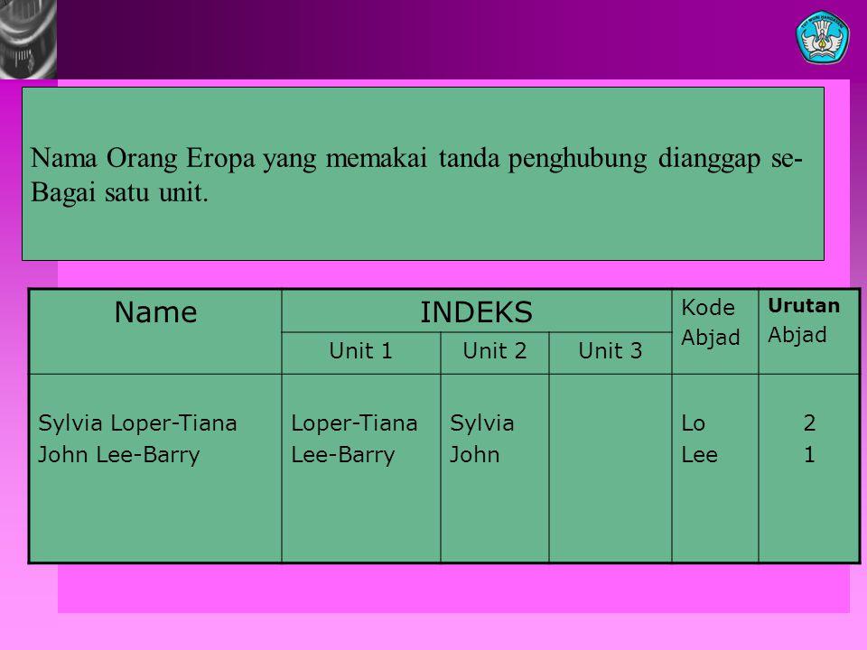 Nama Orang Eropa yang memakai tanda penghubung dianggap se-
