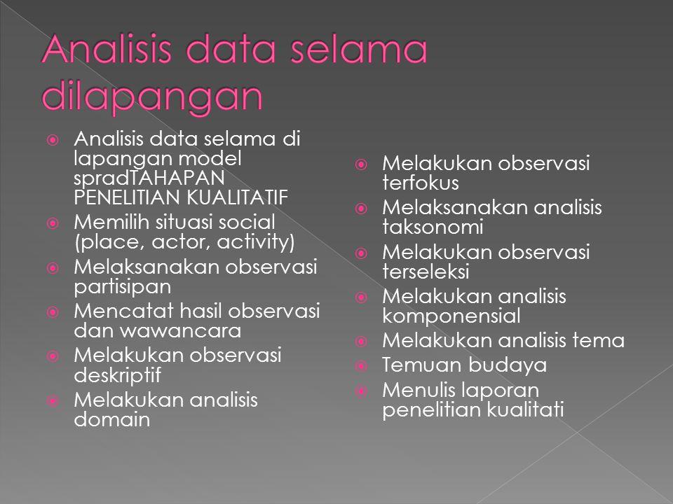 Analisis data selama dilapangan