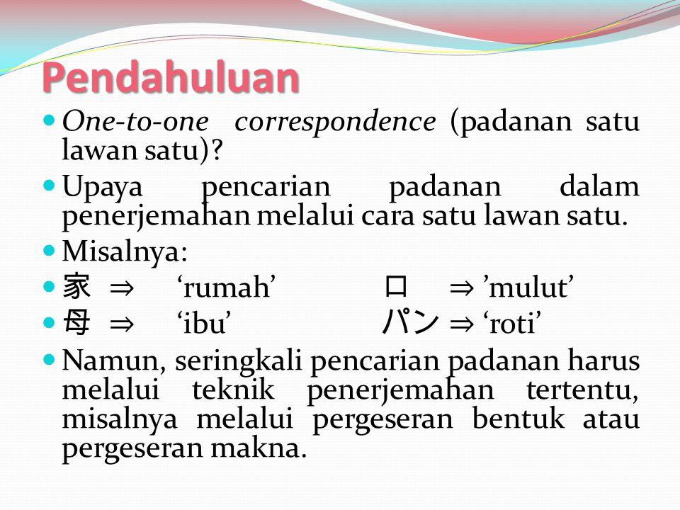 Pendahuluan One-to-one correspondence (padanan satu lawan satu)