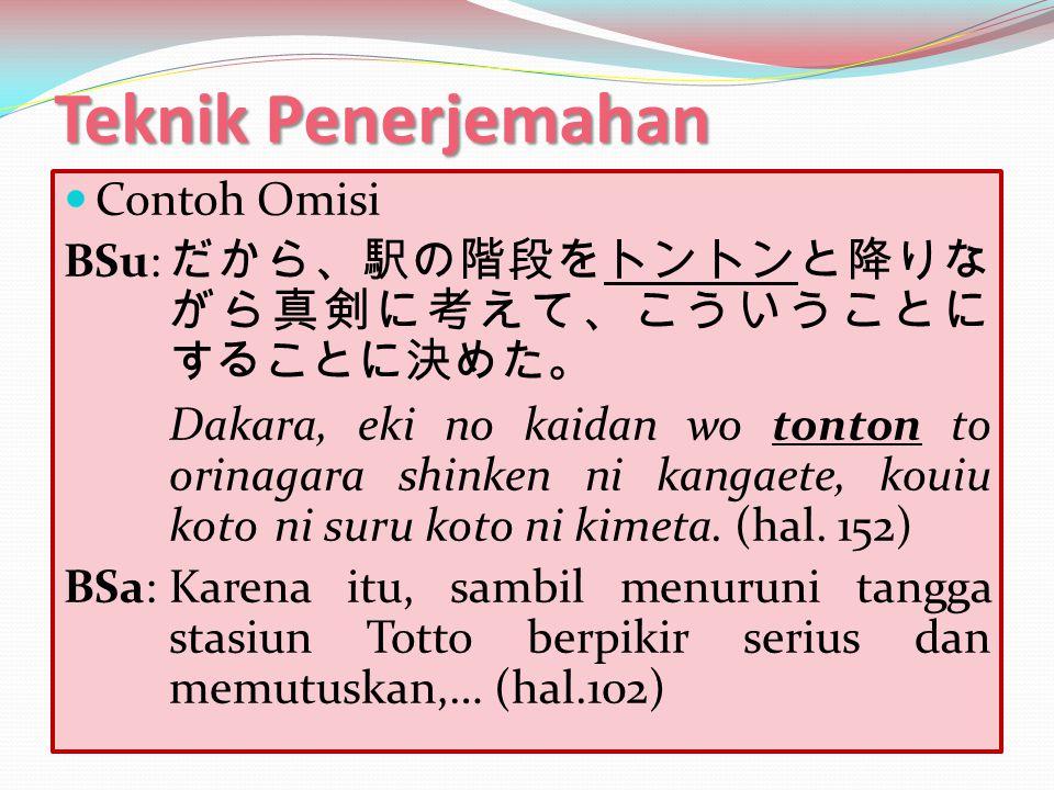 Teknik Penerjemahan Contoh Omisi