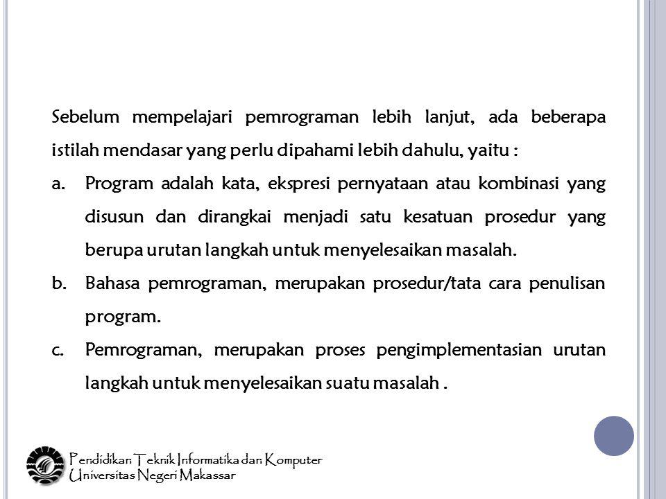 Bahasa pemrograman, merupakan prosedur/tata cara penulisan program.