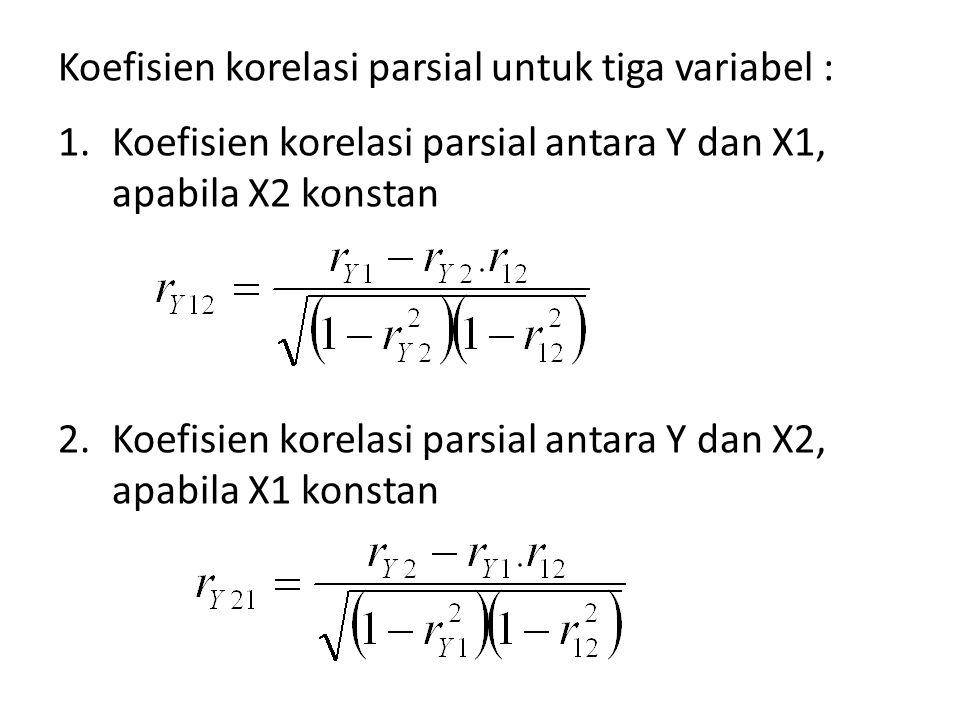 Koefisien korelasi parsial untuk tiga variabel :