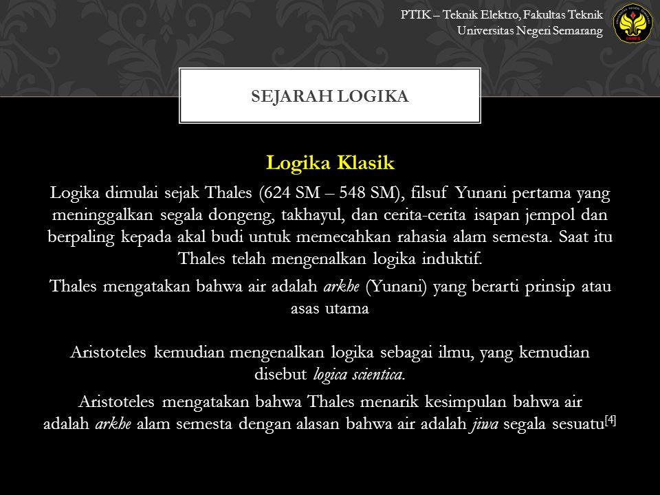 Logika Klasik Sejarah logika