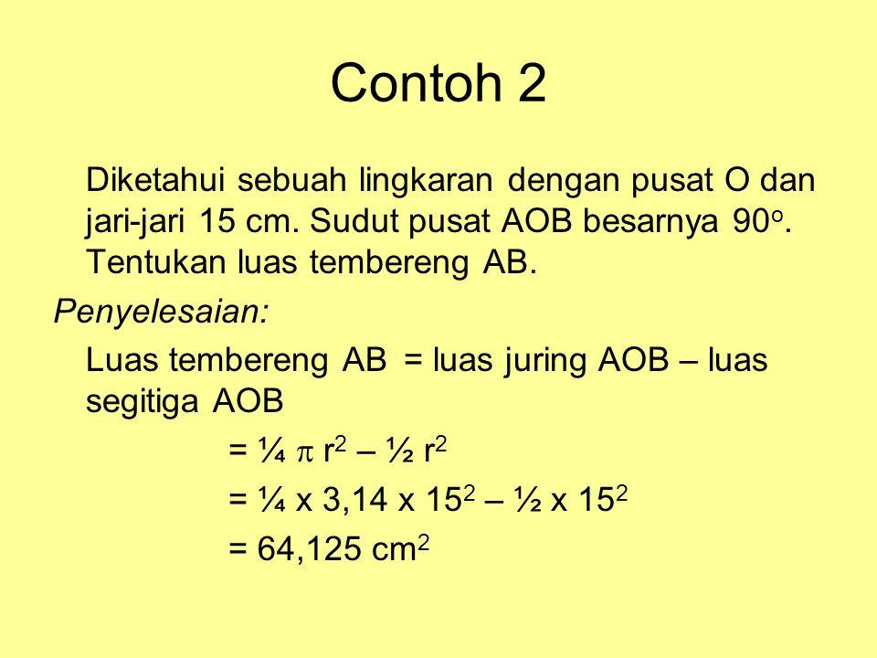 Contoh 2 Diketahui sebuah lingkaran dengan pusat O dan jari-jari 15 cm. Sudut pusat AOB besarnya 90o. Tentukan luas tembereng AB.