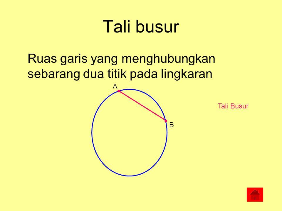 Tali busur Ruas garis yang menghubungkan sebarang dua titik pada lingkaran A Tali Busur B
