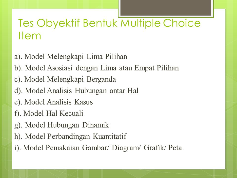 Tes Obyektif Bentuk Multiple Choice Item