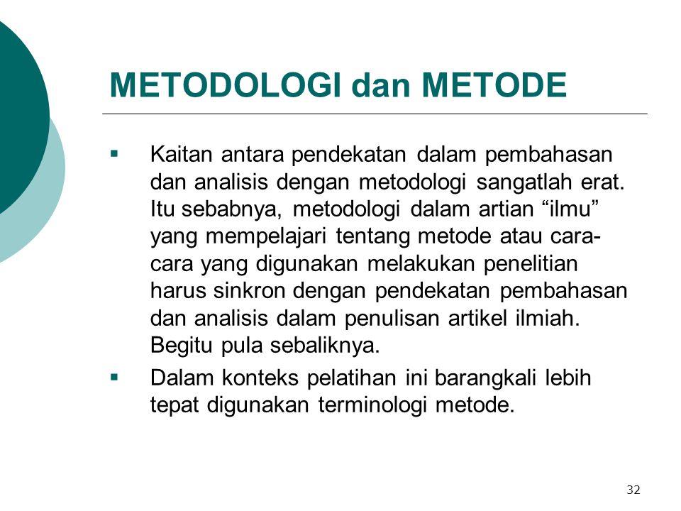 METODOLOGI dan METODE