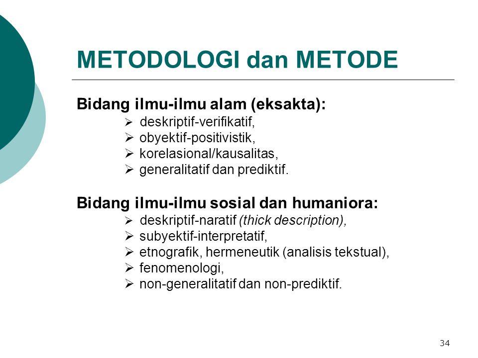 METODOLOGI dan METODE Bidang ilmu-ilmu alam (eksakta):