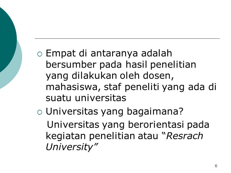 Empat di antaranya adalah bersumber pada hasil penelitian yang dilakukan oleh dosen, mahasiswa, staf peneliti yang ada di suatu universitas