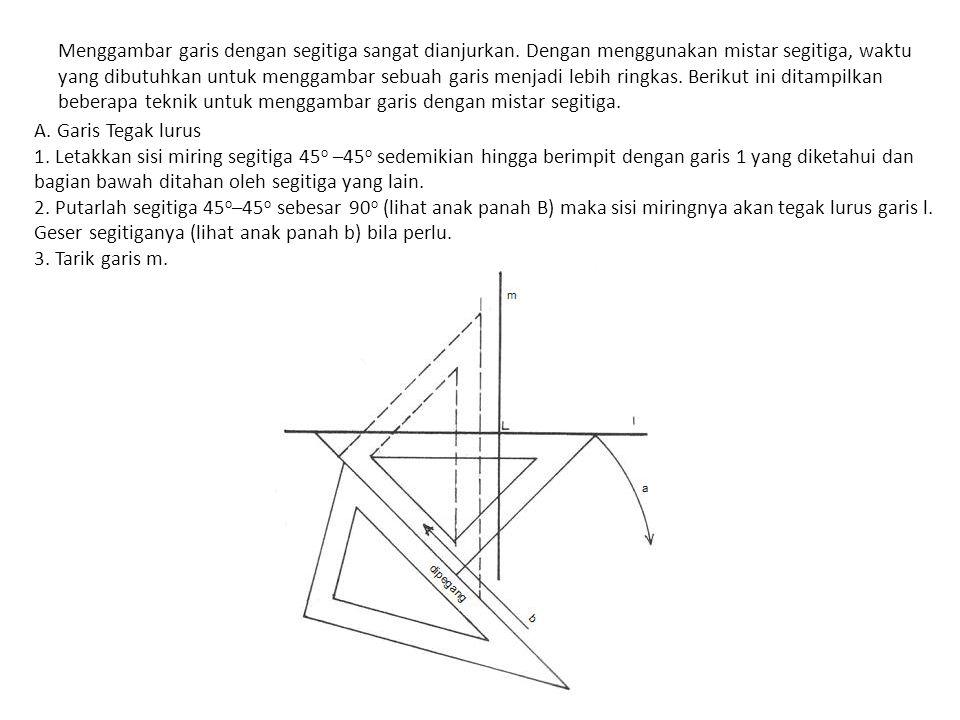 Menggambar garis dengan segitiga sangat dianjurkan