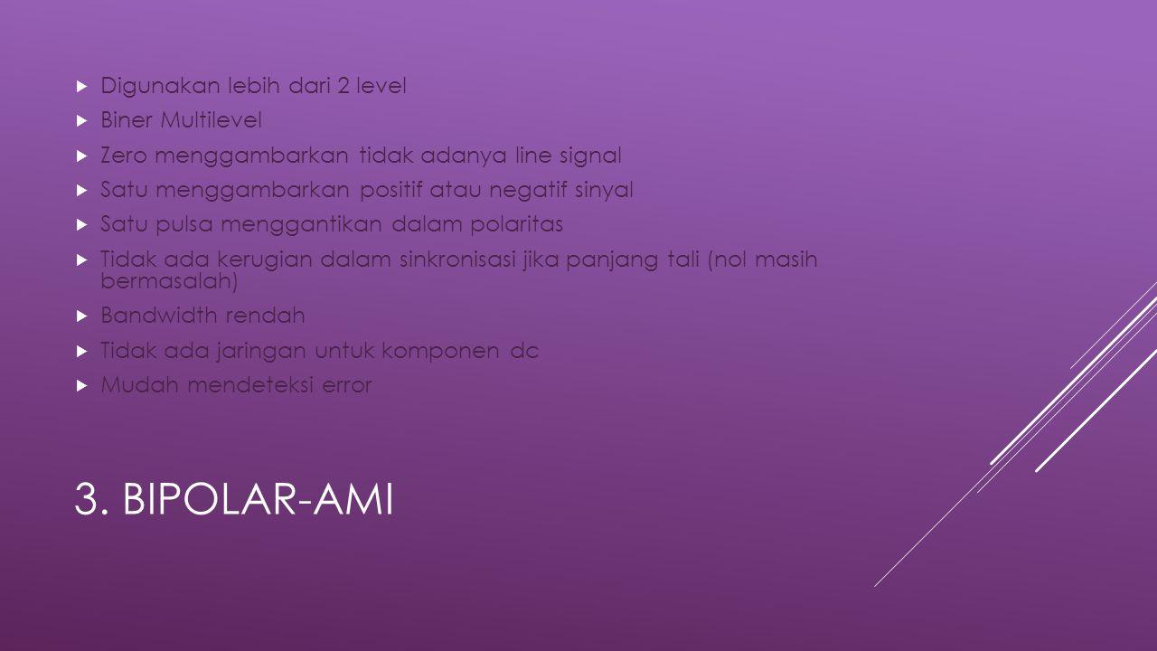 3. Bipolar-AMI Digunakan lebih dari 2 level Biner Multilevel