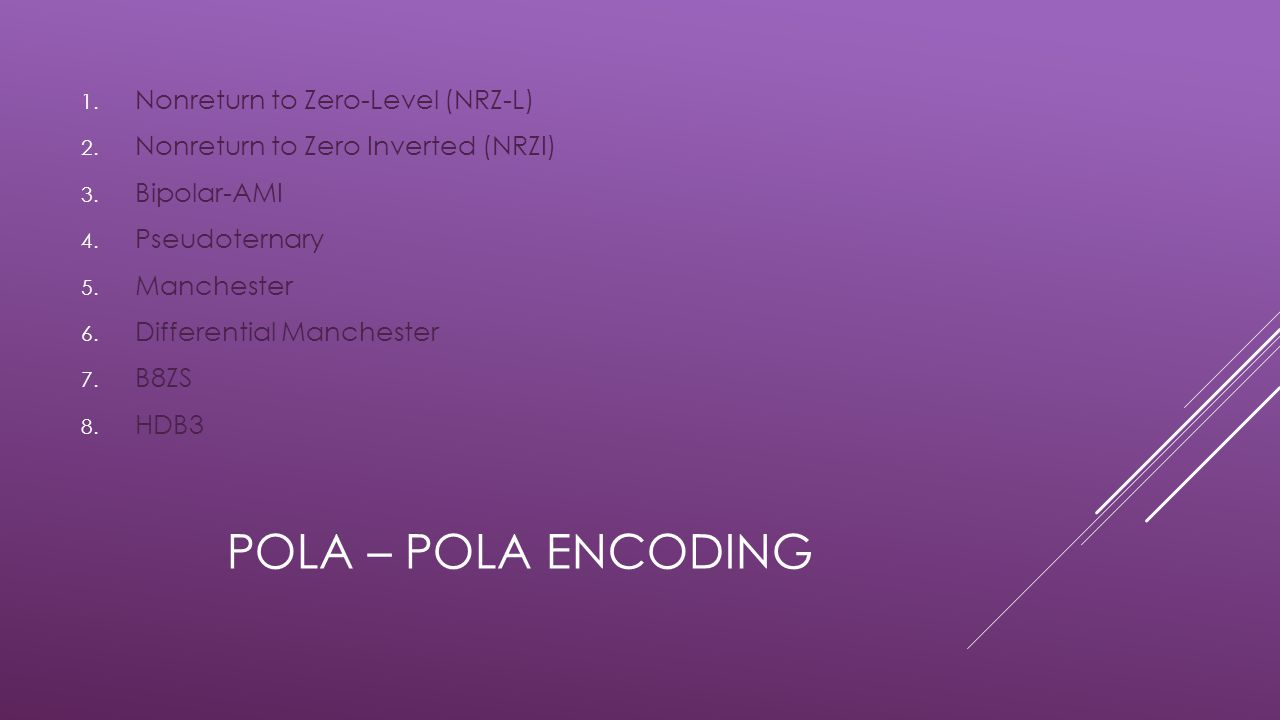 Pola – Pola encoding Nonreturn to Zero-Level (NRZ-L)