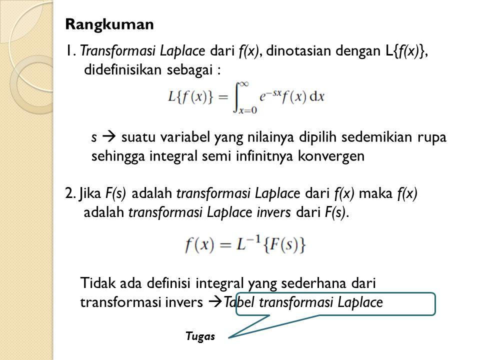 Rangkuman 1. Transformasi Laplace dari f(x), dinotasian dengan L{f(x)}, didefinisikan sebagai :