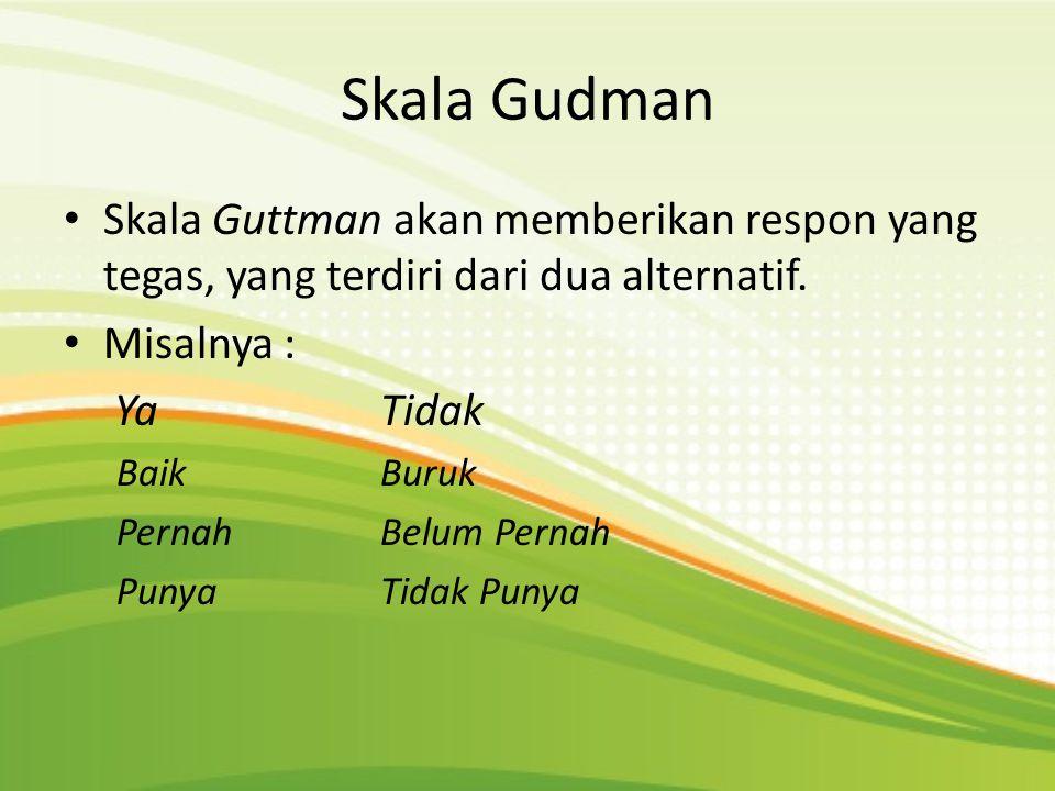 Skala Gudman Skala Guttman akan memberikan respon yang tegas, yang terdiri dari dua alternatif. Misalnya :