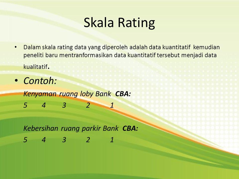Skala Rating Contoh: Kenyaman ruang loby Bank CBA: 5 4 3 2 1