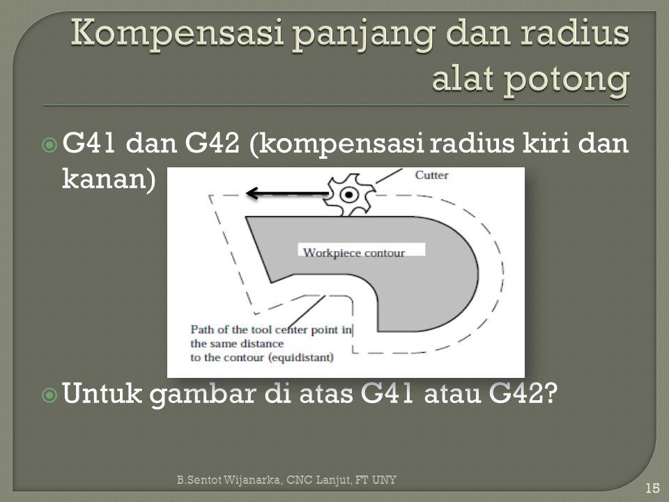 Kompensasi panjang dan radius alat potong
