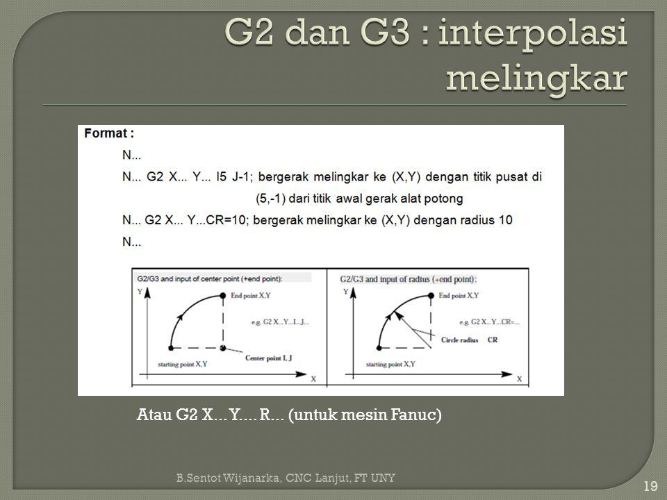 G2 dan G3 : interpolasi melingkar