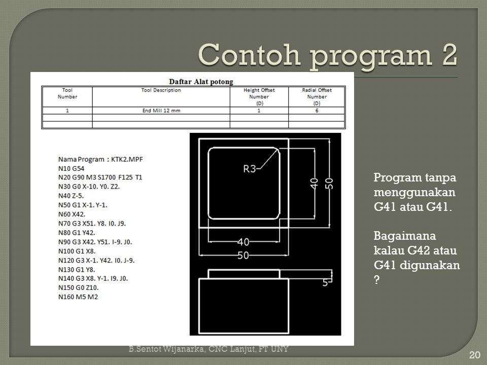 Contoh program 2 Program tanpa menggunakan G41 atau G41.