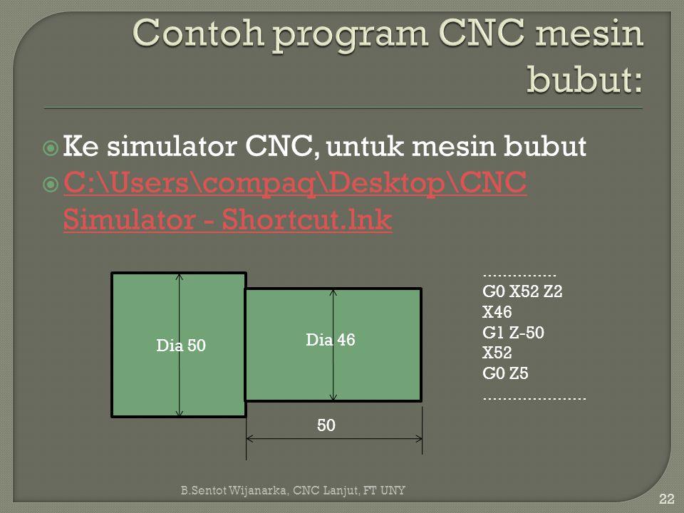 Contoh program CNC mesin bubut: