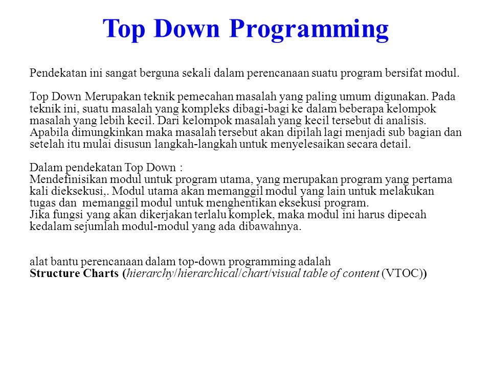 Top Down Programming Pendekatan ini sangat berguna sekali dalam perencanaan suatu program bersifat modul.