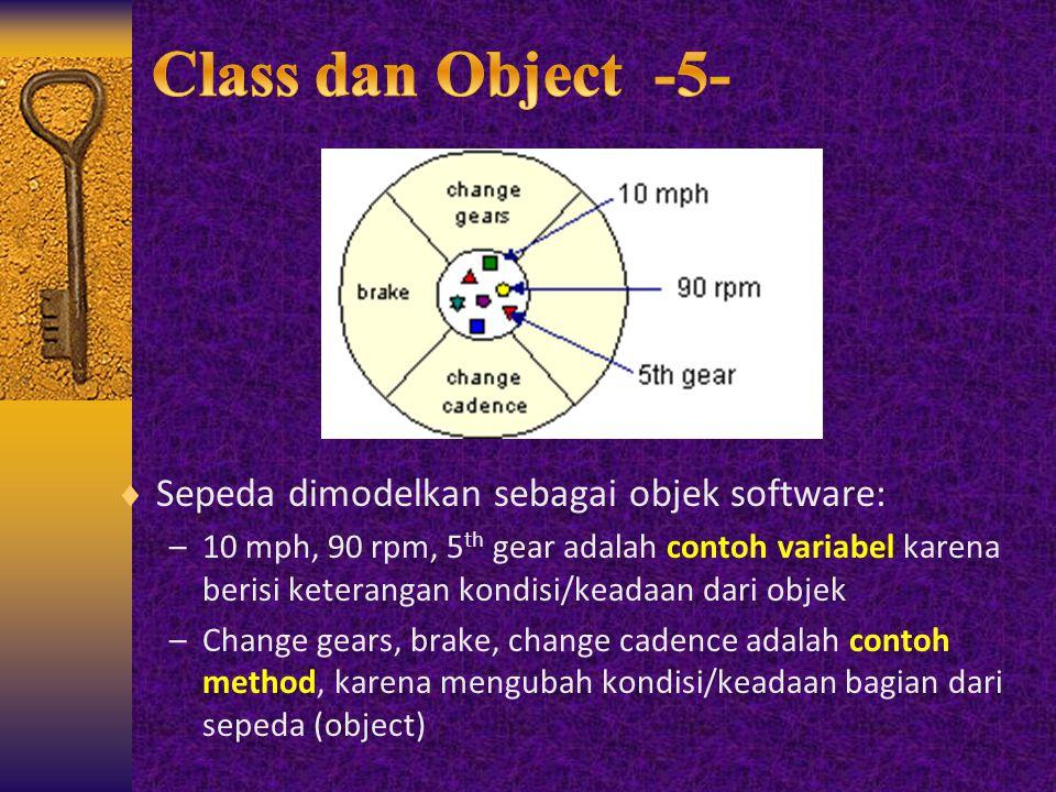 Class dan Object -5- Sepeda dimodelkan sebagai objek software: