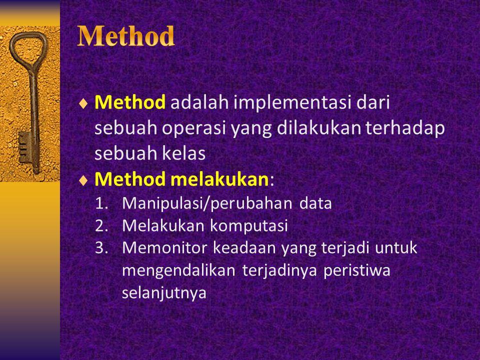 Method Method adalah implementasi dari sebuah operasi yang dilakukan terhadap sebuah kelas. Method melakukan: