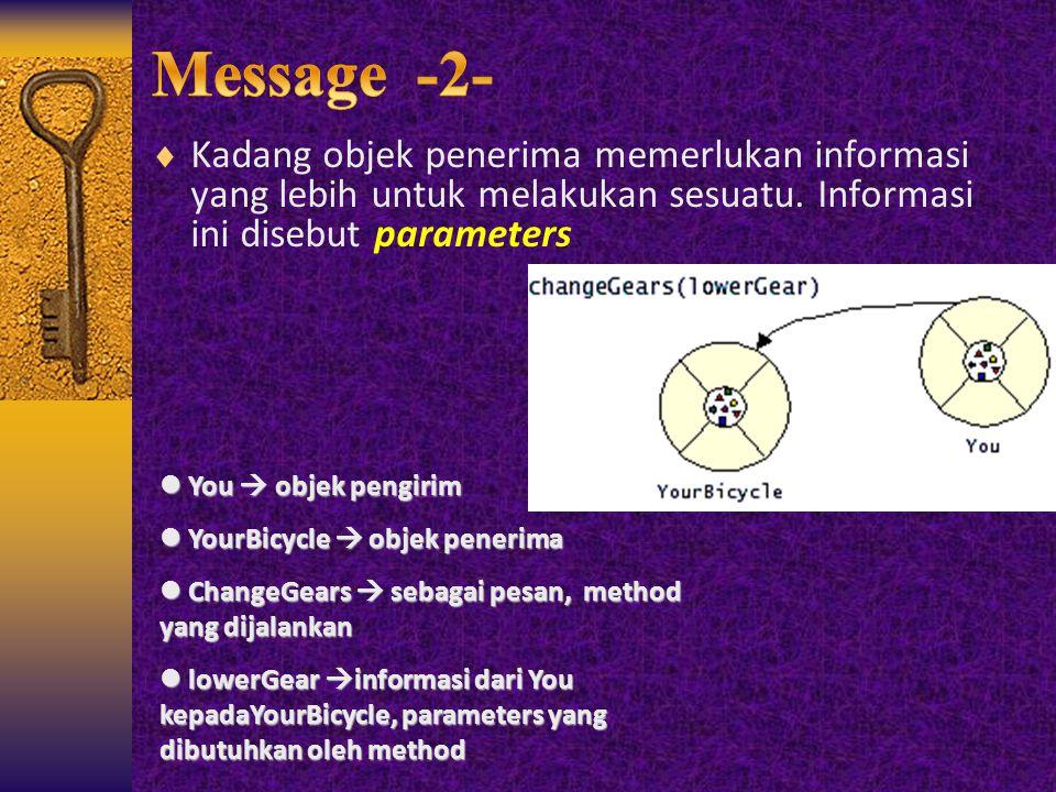 Message -2- Kadang objek penerima memerlukan informasi yang lebih untuk melakukan sesuatu. Informasi ini disebut parameters.