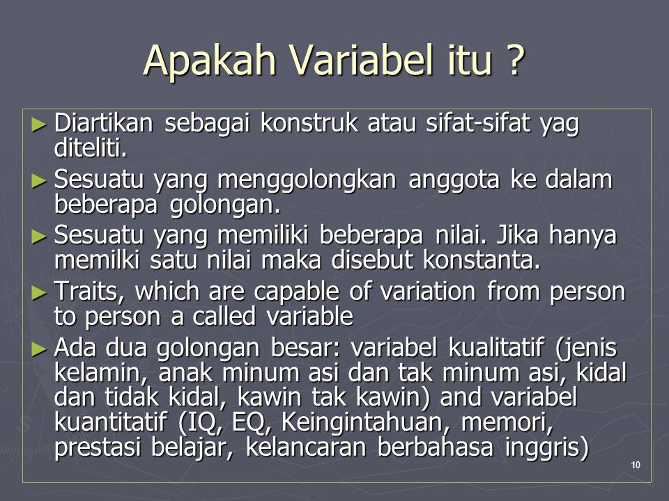 Apakah Variabel itu Diartikan sebagai konstruk atau sifat-sifat yag diteliti. Sesuatu yang menggolongkan anggota ke dalam beberapa golongan.
