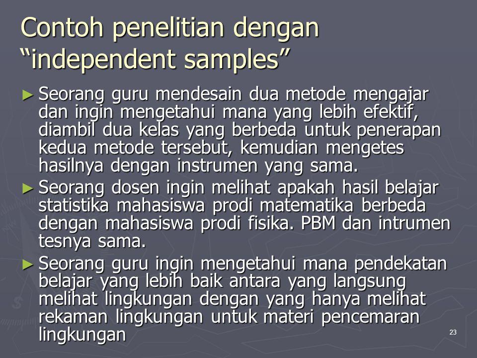Contoh penelitian dengan independent samples