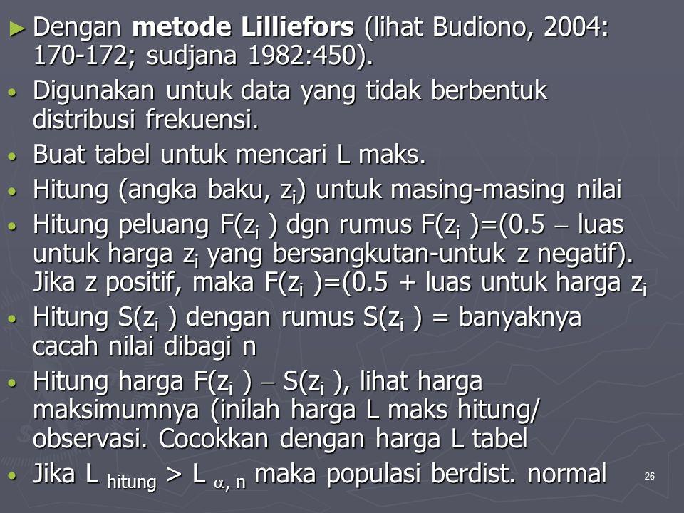 Dengan metode Lilliefors (lihat Budiono, 2004: 170-172; sudjana 1982:450).