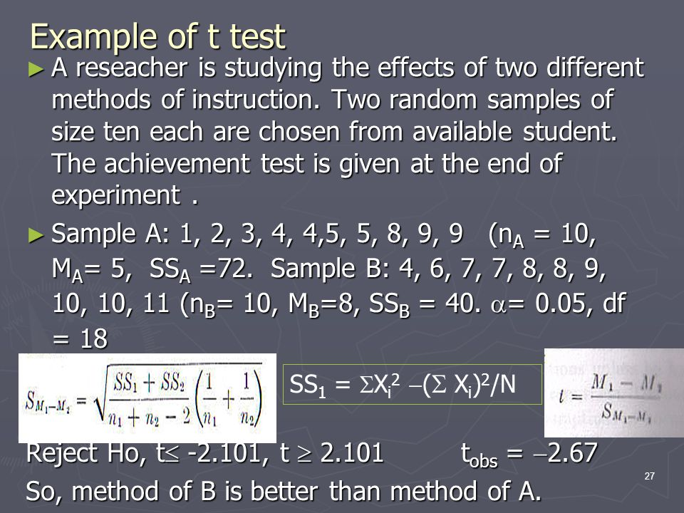 Example of t test