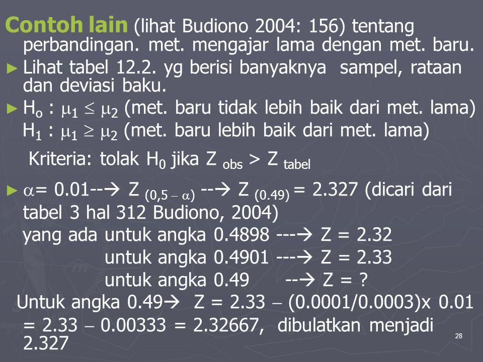 Contoh lain (lihat Budiono 2004: 156) tentang perbandingan. met