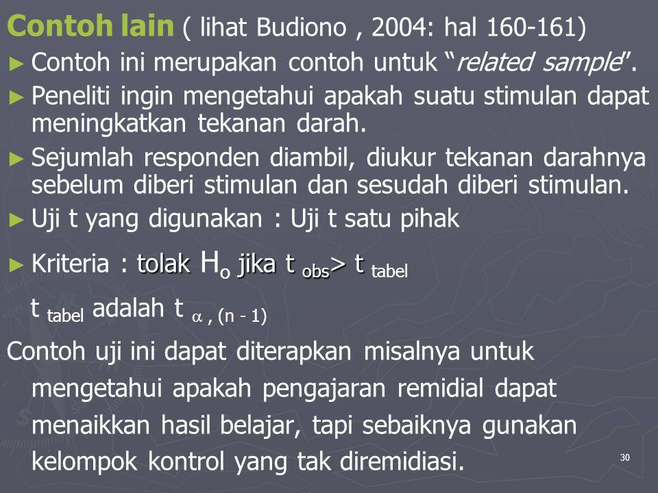 Contoh lain ( lihat Budiono , 2004: hal 160-161)