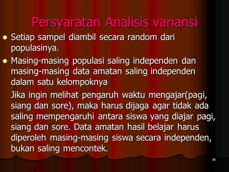 Persyaratan Analisis variansi