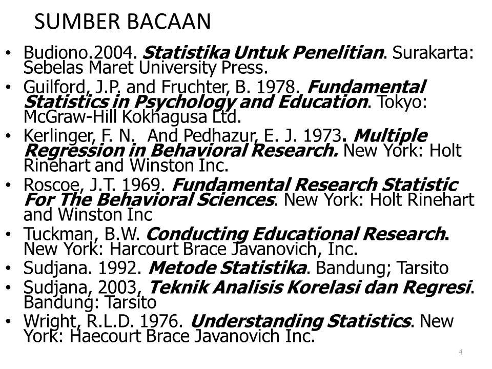 SUMBER BACAAN Budiono.2004. Statistika Untuk Penelitian. Surakarta: Sebelas Maret University Press.