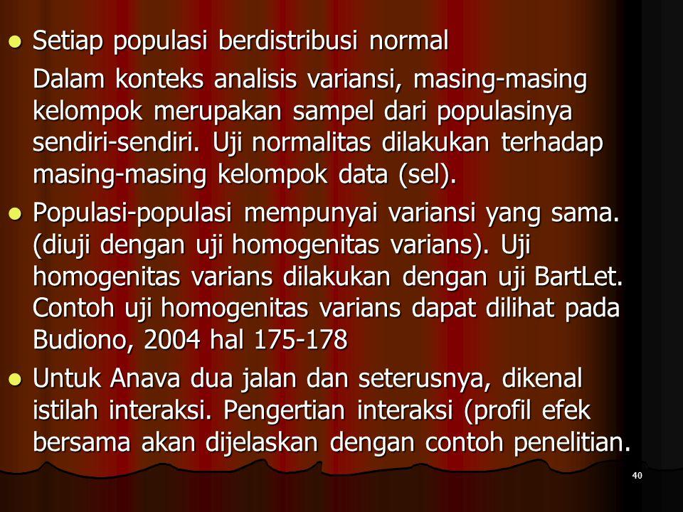 Setiap populasi berdistribusi normal