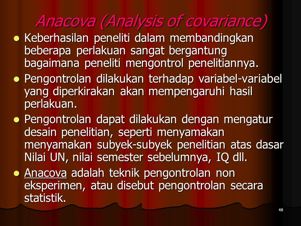 Anacova (Analysis of covariance)
