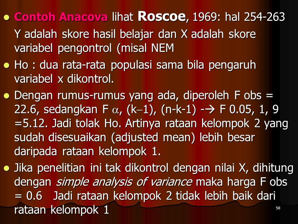 Contoh Anacova lihat Roscoe, 1969: hal 254-263