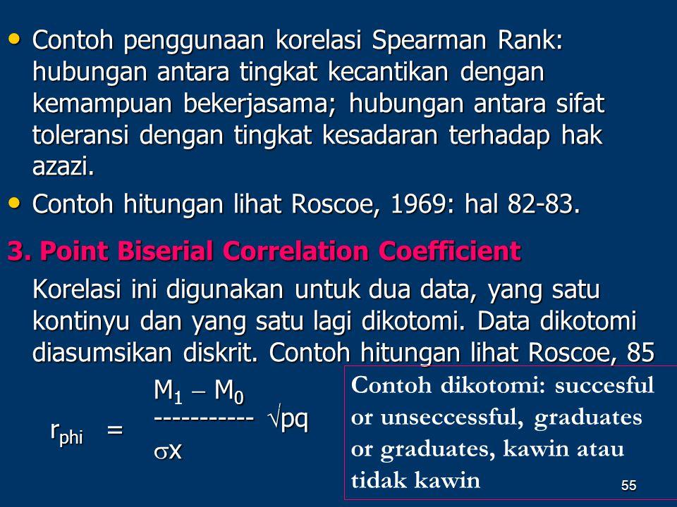 Contoh penggunaan korelasi Spearman Rank: hubungan antara tingkat kecantikan dengan kemampuan bekerjasama; hubungan antara sifat toleransi dengan tingkat kesadaran terhadap hak azazi.
