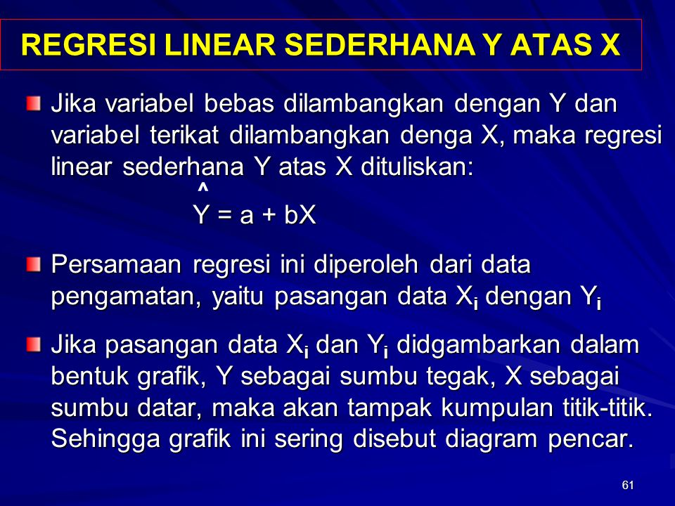 REGRESI LINEAR SEDERHANA Y ATAS X
