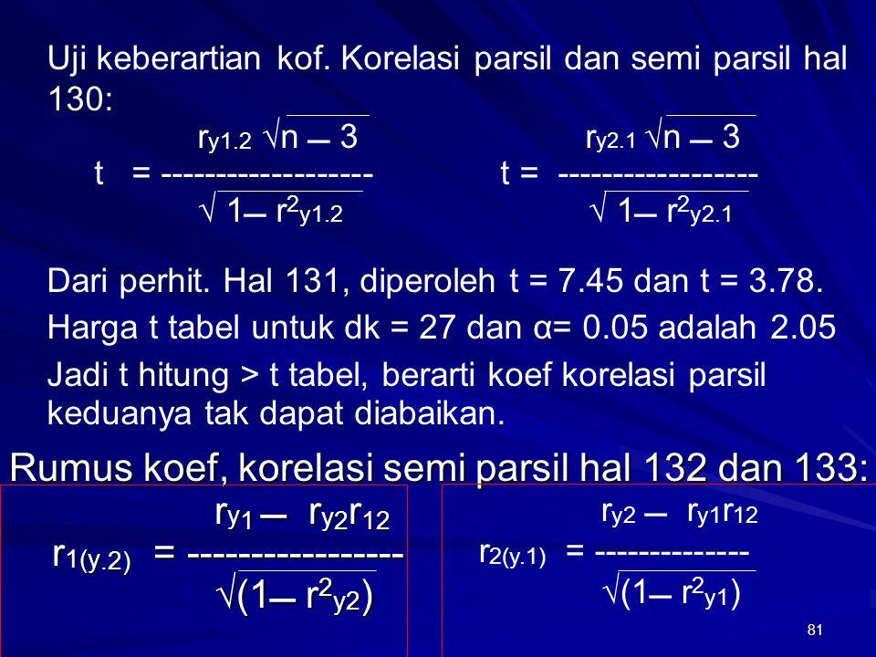 Rumus koef, korelasi semi parsil hal 132 dan 133: ry1  ry2r12