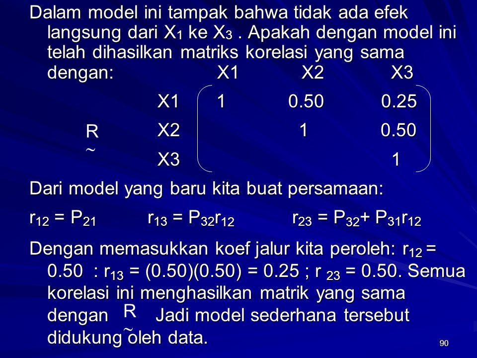 Dalam model ini tampak bahwa tidak ada efek langsung dari X1 ke X3