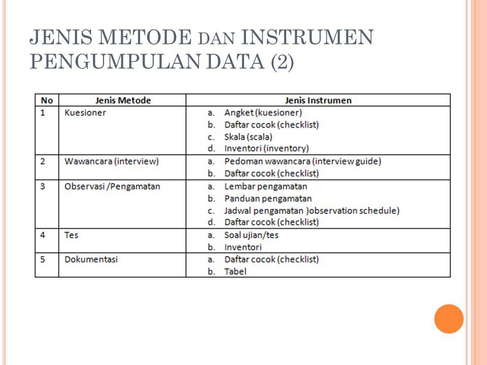 JENIS METODE dan INSTRUMEN PENGUMPULAN DATA (2)