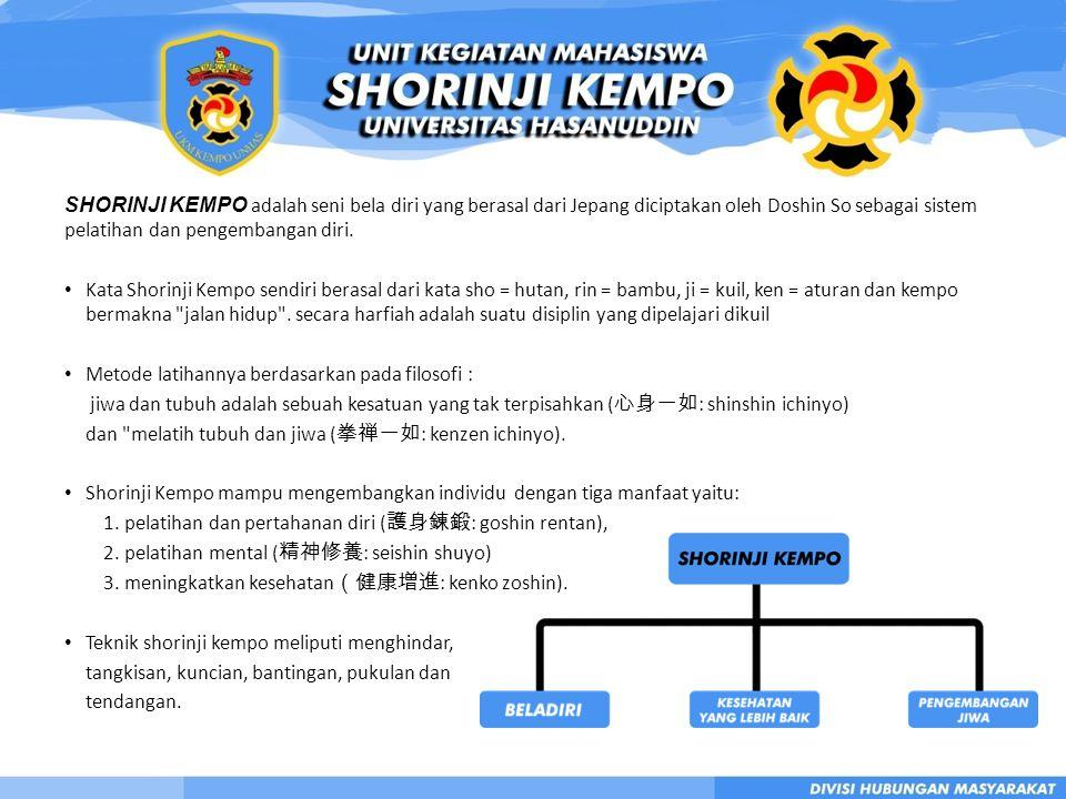 SHORINJI KEMPO adalah seni bela diri yang berasal dari Jepang diciptakan oleh Doshin So sebagai sistem pelatihan dan pengembangan diri.